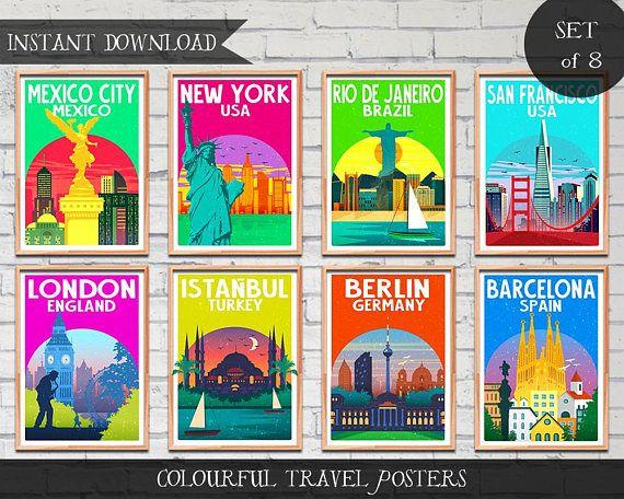 Bright Travel Posters Poster Set Art Download Digital Prints