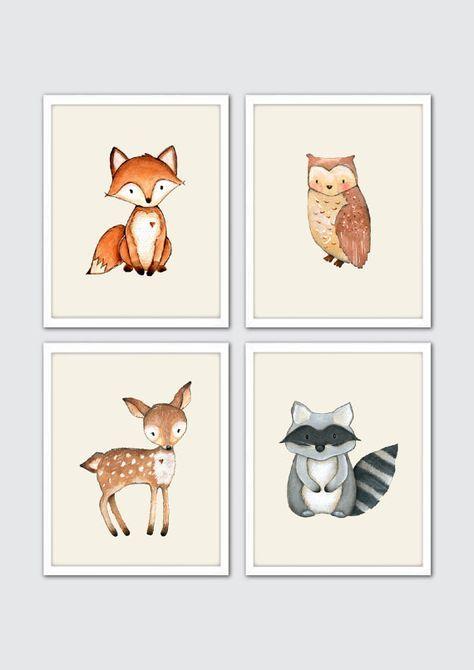 Watercolor Woodland Animals Nursery Art, Woodland Nursery Prints, Racoon, Owl…