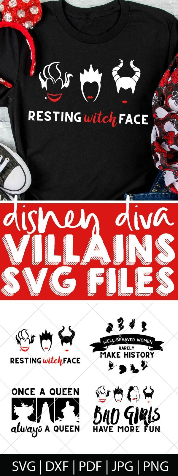 Disney Villains SVG Files Disney villains, Disney