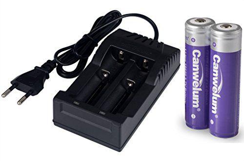 Canwelum 3,7V Lithium-Ionen 18650 Akku und Ladeger�t, Wiederaufladbare Li-ion 18650 Batterie, Li-ion 18650 Akku Gesch�tzt - Anwendbar f�r Taschenlampe oder Stirnlampe LED, Nicht f�r E-Zig (2 x Akkus und 1 x Ladeger�t) - CE-zertifiziert