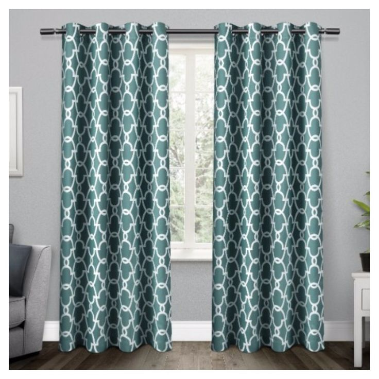 Gates Sateen Woven Room Darkening Grommet Top Window Curtain Panel Pair Teal  (Blue) ( Part 33