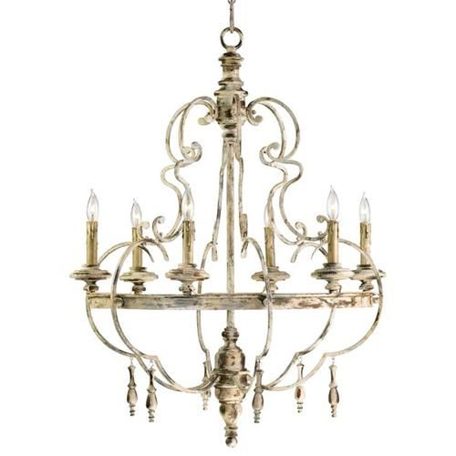 The Da Vinci chandelier is the epitome of classic, timeworn Italian design.  Fashioned after an antique discovered in the Italian countryside, this luminary celebrates the simplicity of handcrafted European family heirlooms.  Echoing elements of Baroque styling, wood turning, and simulated wax candles lend this chandelier a humble farmhouse aesthetic.  Comes with 10 foot wire; 8 foot chain
