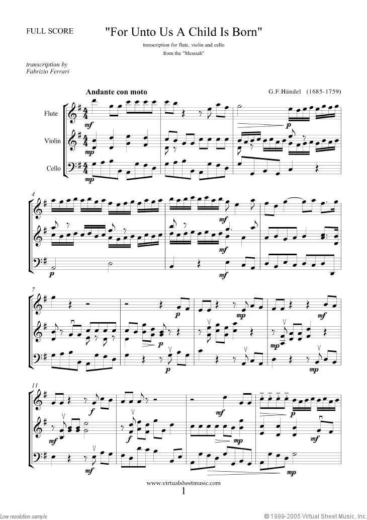 For Unto Us A Child Is Born sheet music for flute, violin and cello by