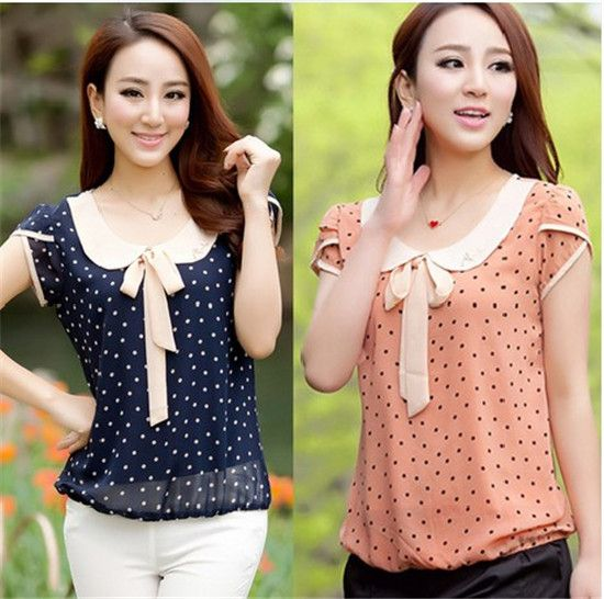 Women's Short Sleeve Chiffon Blouse Peter Pan Collar Bow Polka Dot Print Tops Casual Shits Plus Size XL Summer Spring Tops-in Blouses & Shirts from Apparel & Accessories on Aliexpress.com | Alibaba Group