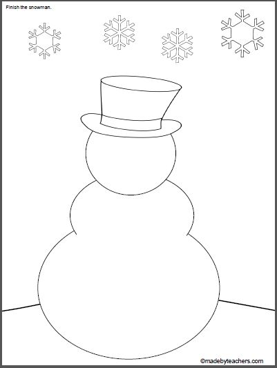 Print and finish drawing the snowman.