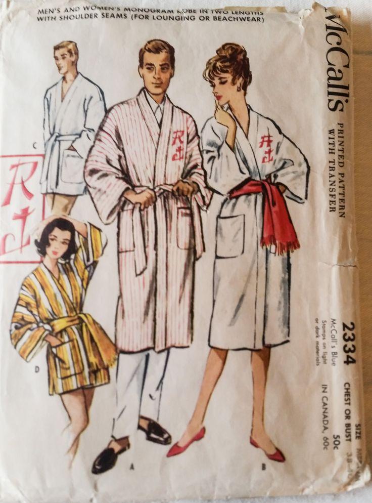 Men's Women's Sewing Pattern Robe Sleepwear Beach Robe Beachwear 1950s Loungewear Beach Cover up McCalls 2334 Size 38-40 by KingSantaFun on Etsy
