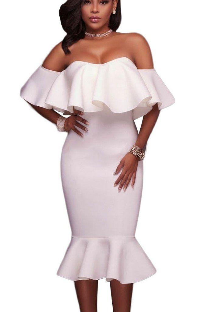 White Ruffle Off Shoulder Mermaid Chic Midi Party Dress MB61486-1 – ModeShe.com