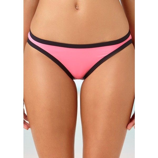 Anne Cole Signature  Signature Bikini Swim Bottom ($22) ❤ liked on Polyvore featuring swimwear, bikinis, bikini bottoms, pink, pink bikini, summer beach wear, one shoulder swimwear, bottom bikini and bikini swim wear