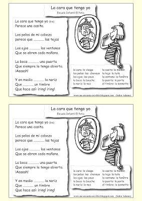 Me encanta escribir en español: Canción: La cara que tengo yo (vocabulario del cuerpo y de la casa)