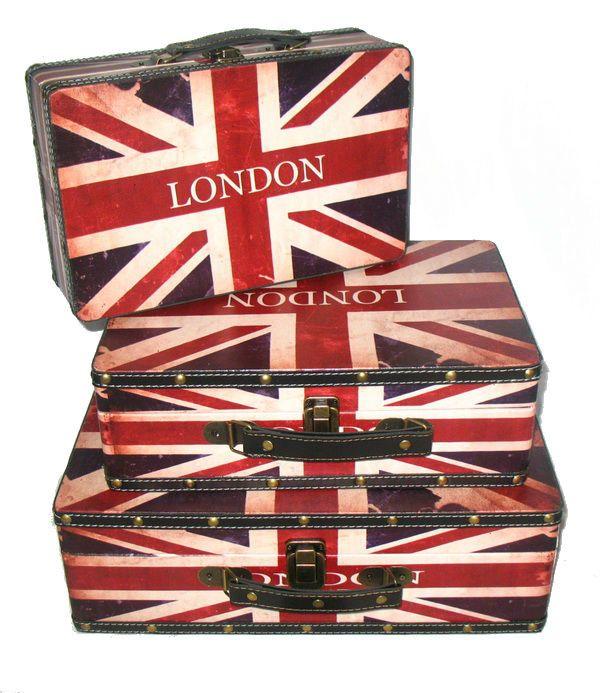 "Set of 3 Rustic British Flag Decorative Wooden Storage Boxes 16"""