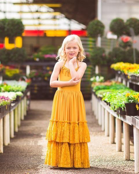 838e4f4f2f77 Willow Maxi Dress in Goldenrod | Mustard Yellow Wedding Inspiration |  Dresses, Yellow flower girl dresses, Flower girl dresses boho