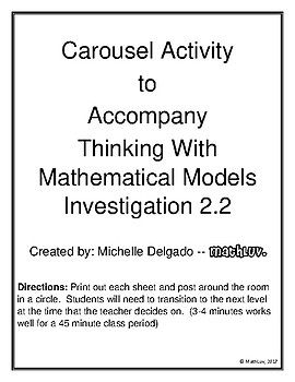 Carousel Activity to Accompany Thinking With Mathematical Models Investigation 2.2 Directions: Print out each sheet and post around the room in a circle. Students will need to transition to the next level at the time that the teacher decides on. (3-4 minutes works well for
