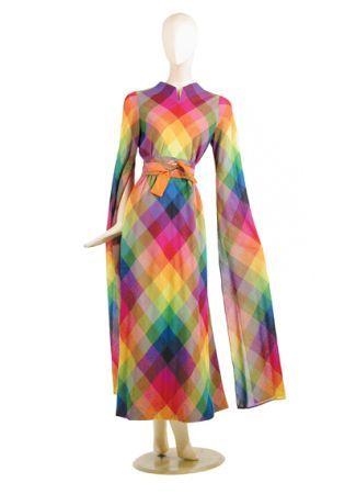 1960s Pauline Trigère colour spectrum plaid wool evening dress.