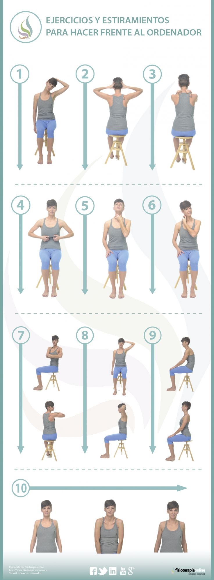 10 ejercicios para hacer frente al ordenador y cuidar tu espalda