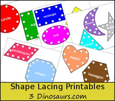 Free Shape Lacing Printable - 3Dinosaurs.com