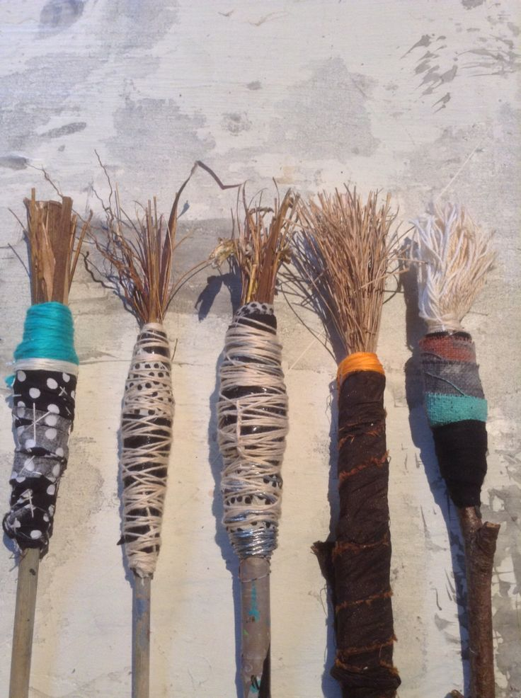 Hand made brushes with cotton and grasses  Lorna Crane