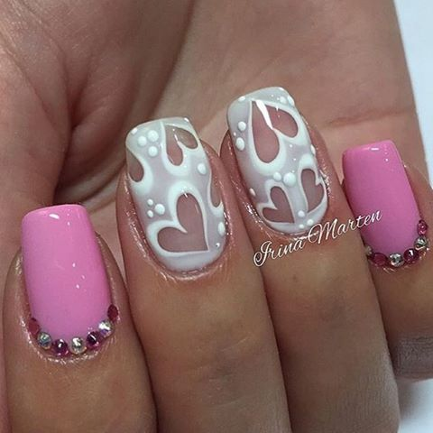 Negative space heart nail art