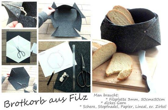 brotkorb aus filz felt pinterest id es pour la maison pour la maison et la maison. Black Bedroom Furniture Sets. Home Design Ideas