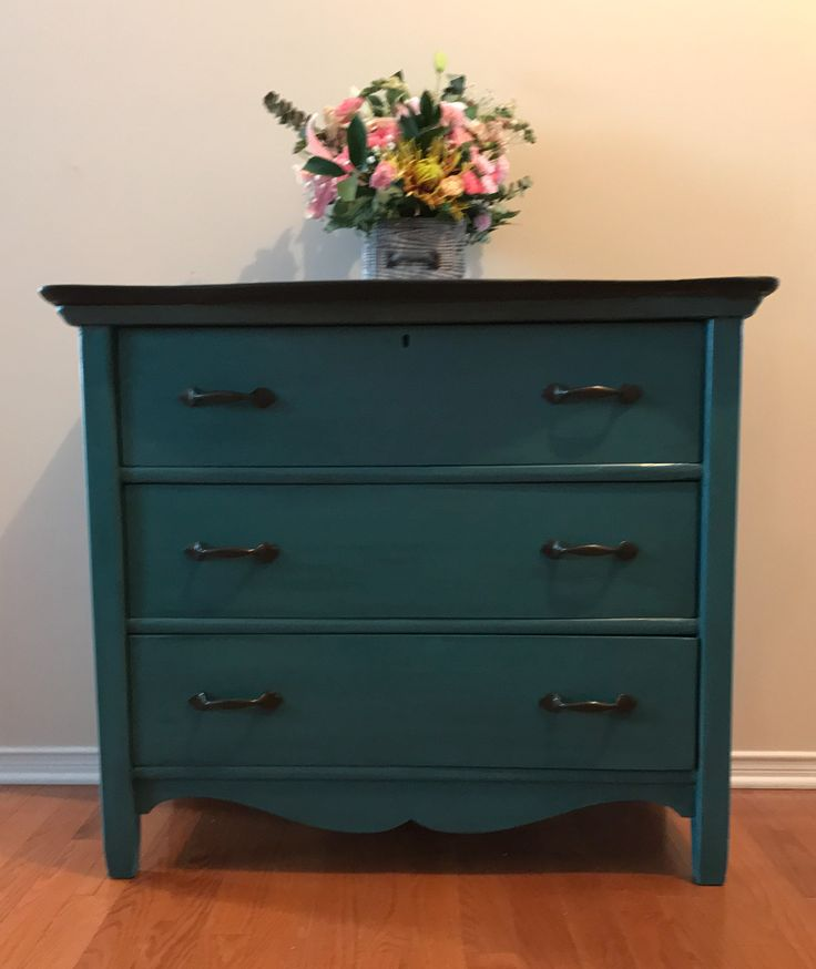 Antique three drawer dresser recreated by Vintage Inspirations by Sharon in Ottawa, Ontario using PIY Paints in Blue Ice and Metallic English Brown.