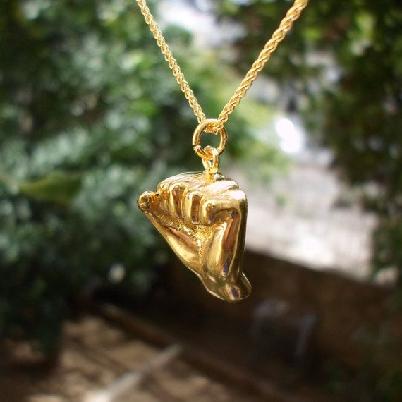 Gold fist necklace jewelry gold plated unity by jewelsculpts