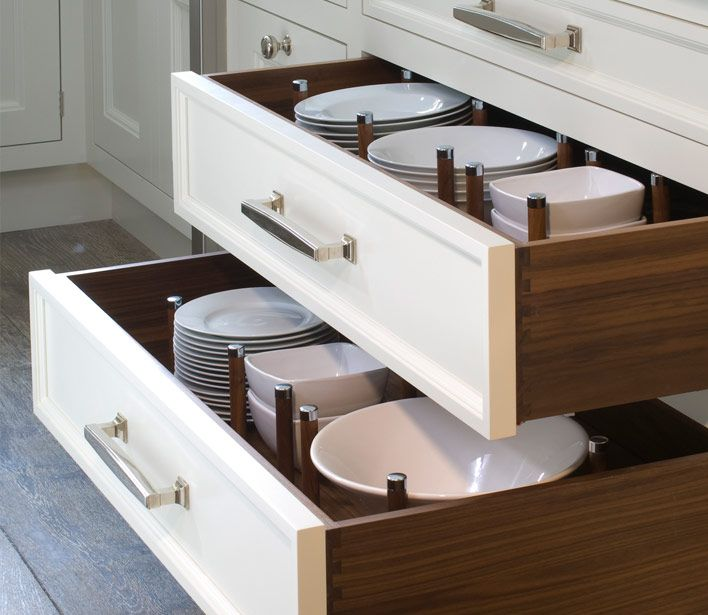 I always use drawers for my plates and bowls.  I mean who likes to lug heavy loads of plates up over their shoulders to put them away when you can just take them in and out of a drawer instead?