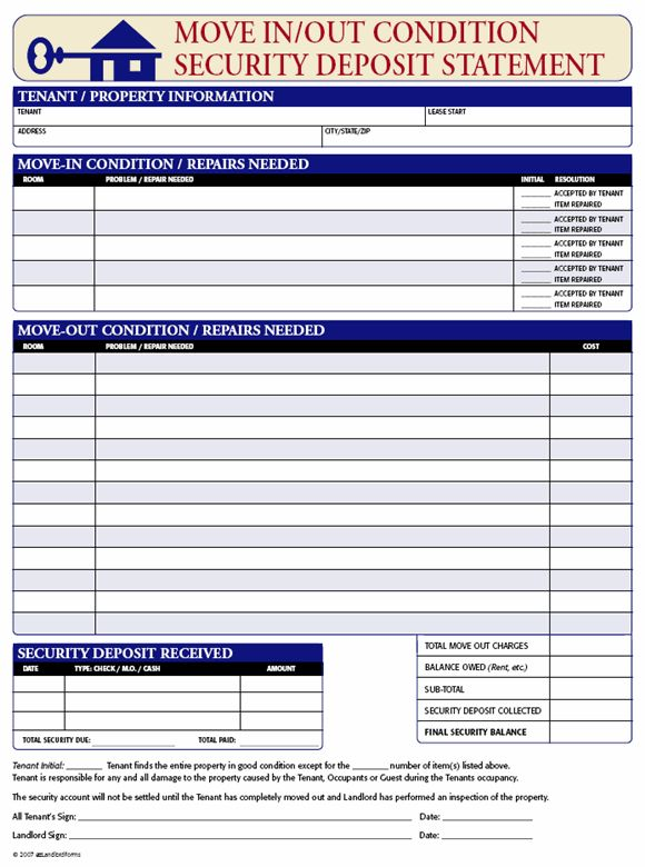 Security Deposit Receipt - Move In/Out Condition | EZ Landlord Forms
