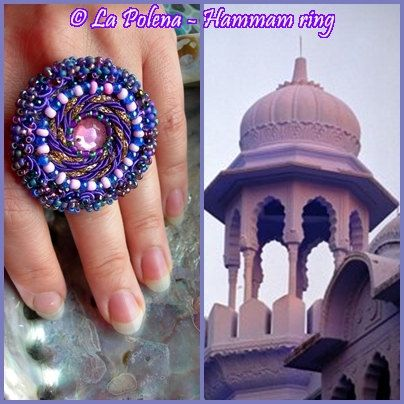 HAMMAM ring Made to order beaded soutache Purple Blue by LaPolena