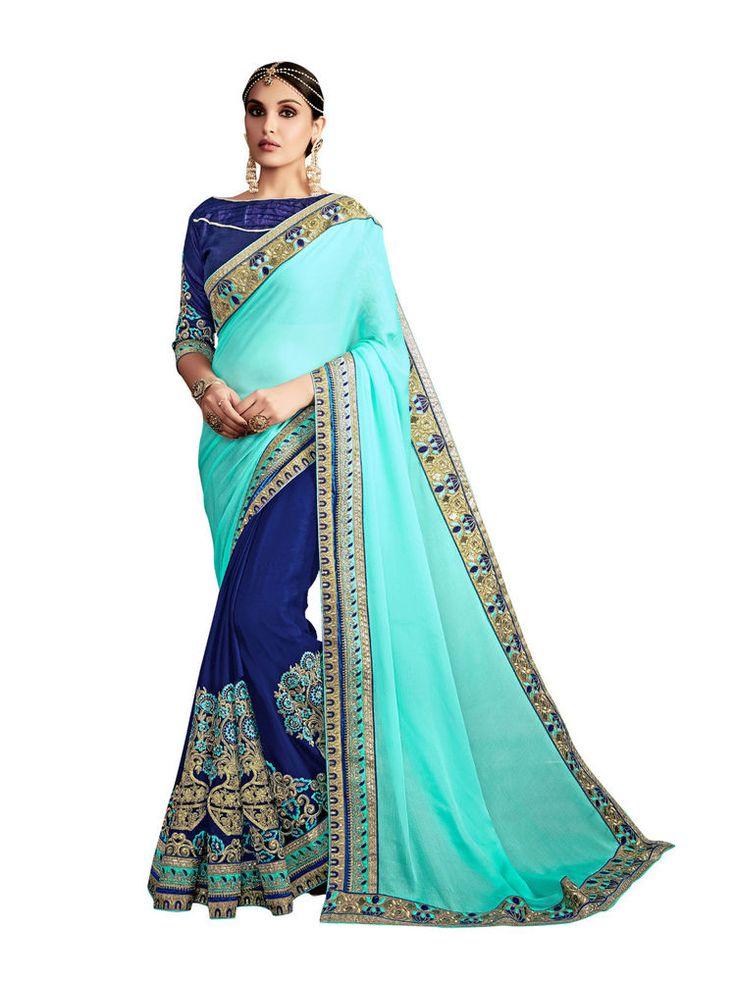 New India Ethnic Designer Wear Bollywood Saree Premium Wedding Wear Saree Blue #RadhaKrishnaExports #BollywoodSaree #PremiumWeddingWear