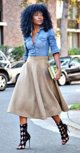 Denim shirt with brown maxi skirt and black high heels. Learn how to wear denim this fall 2015 >>> http://justbestylish.com/how-to-wear-denim-this-fall-2015/