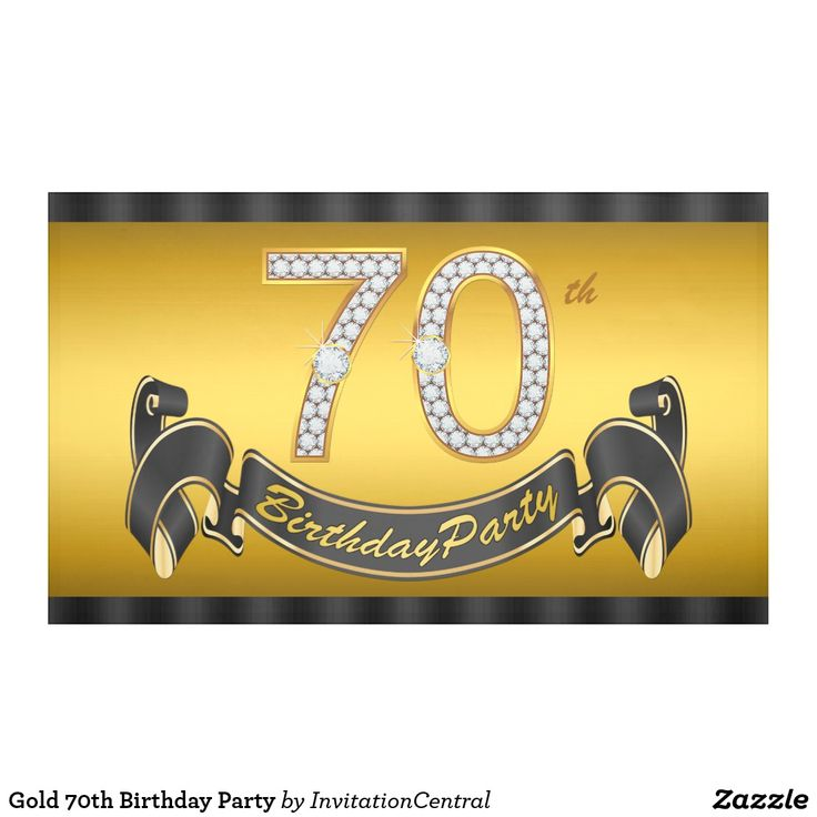 Gold 70th Birthday Party Banner 70th birthday party banner with beautiful gold diamond numbers and pretty black and gold happy birthday banner on an elegant gold background. You can change the size of the number banner and add text to personalize this elegant and classy 70th birthday party banner. This is a printed design with no real diamonds, gold, glitter, etc.
