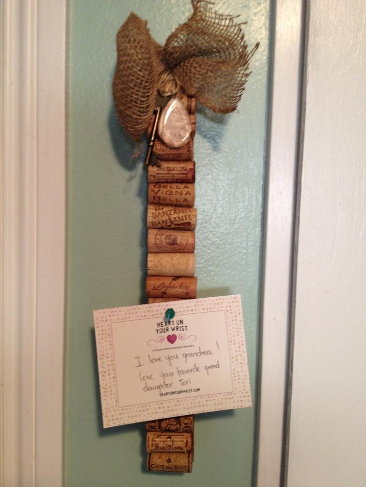 Wine cork memo board.  Wine corks on a wine stave.