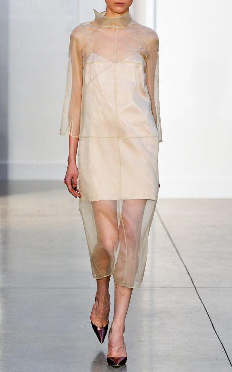 Midi Organza Dress With Collar And Satin Slip by Barbara Casasola for Preorder on Moda Operandi