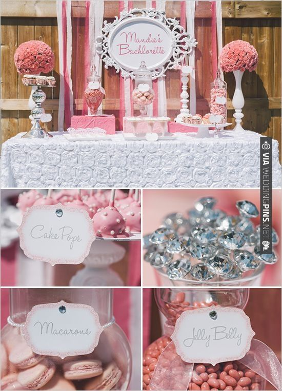 pink dessert table ideas for super cute Bachelorette Party. Get more Bachelorette party ideas | VIA #WEDDINGPINS.NET