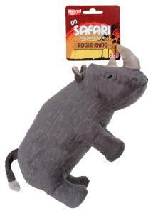 Animal Instincts On Safari Rhino Dog Toy. The Safari Rhino is a great toy for your dog to snuggle up to, Animal Instincts On Safari Plush Toys are made from a premium, super soft fabric and include a squeak for maximum entertainment. The On Safari Range will provide hours of interactive fun for you and your dog. Ideal for playing and fetching.