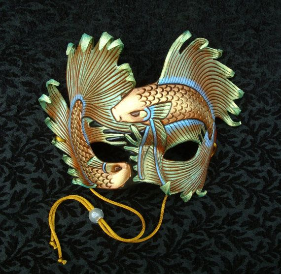 Iridescent Fighting Fish ...handmade original leather art mask by merimask. #masks #venetianmasks #masquerade http://www.pinterest.com/TheHitman14/art-venetian-masks-%2B/