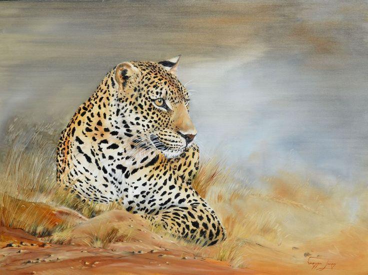 Taking a break, Leopard, oil on canvas, 91 x 121cm