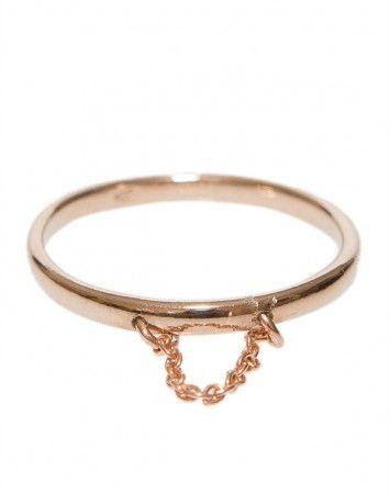 Petite Grand Rose Gold Chain drop ring