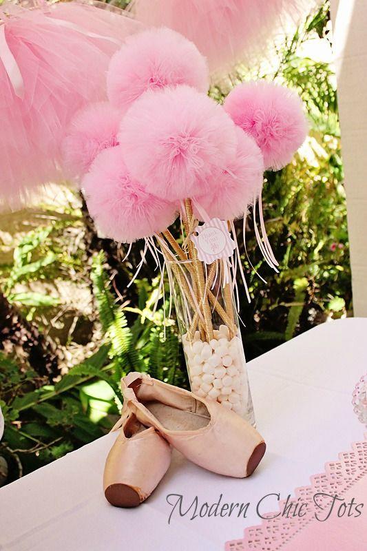 Pink Ballarina Pom Pom Wands