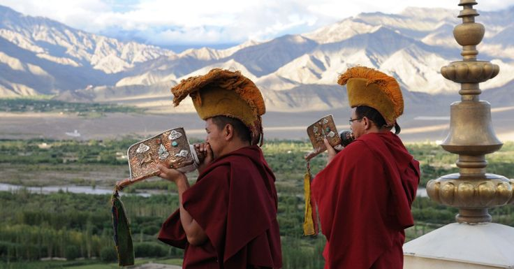 Monks-blowing-conch-shell Ladakh India #MICE #HiTours #India #Travelmediate