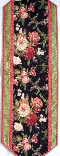 Victorian Table Runner with Salmon Flowers and Black Background   PutmanLakeDesigns - Quilts on ArtFire