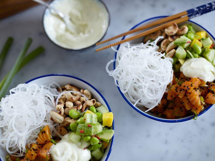 Poké bowl med saffranslax | Recept från Köket.se