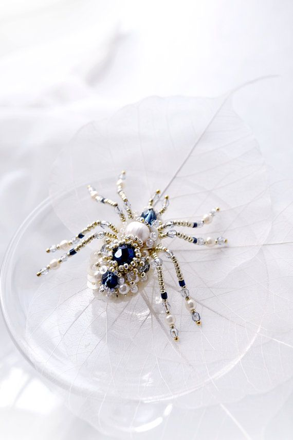 Small spider brooch pearl dark blue spider by PurePearlBoutique