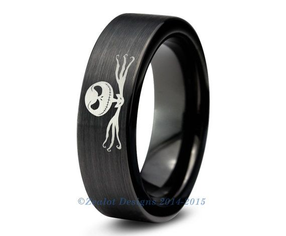 nightmare before christmas ringtungsten wedding band mens womens pipe cut brushed geek anniversary engagement all custom - Nightmare Before Christmas Wedding Rings