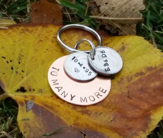 20 Year Anniversary Keychain Gifts For Men Wedding Stamped Dime Years And Counting Her Gift By TiffysLove On Etsy