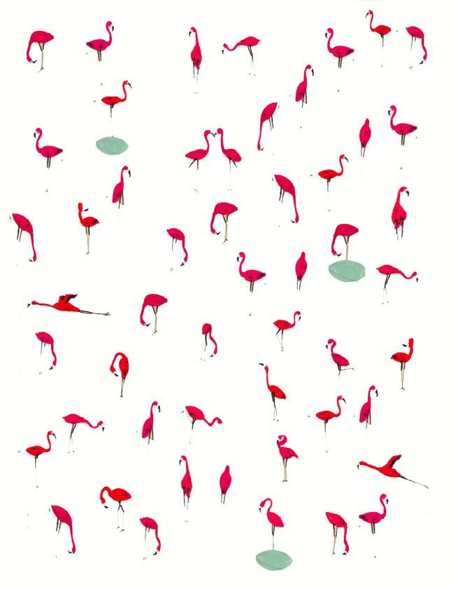 Kids wall art. Flamingos. Unique art print by illustrator Amyisla. Wall art for kids.. $35.00, via Etsy.