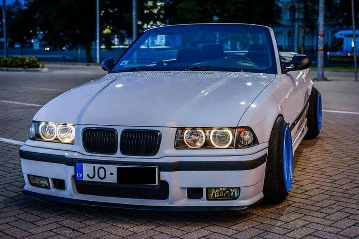 BMW E36 3 series white cabrio stance