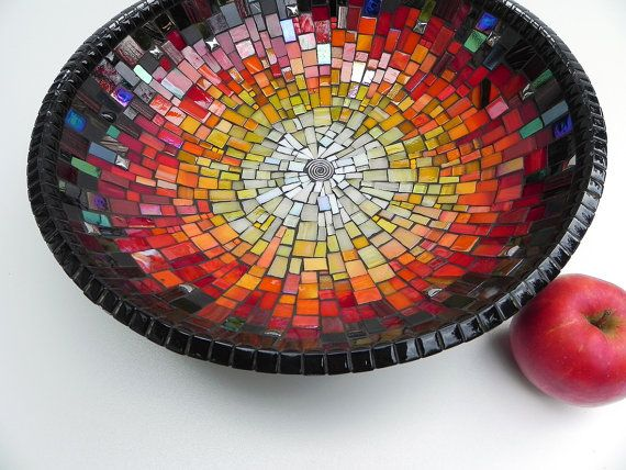 Mosaic Art Mosaic Bowl Table Decoration in Black by NewArtsonline