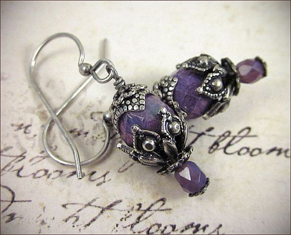 Orchid Earrings, Purple Renaissance Earrings, Gothic Victorian, Renaissance Costume, SCA Garb, Victorian Earrings, Medieval, Ready to Ship