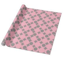 Pink and Black Circles Pattern Gift Wrap Paper