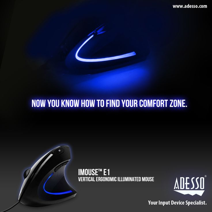 """This iMouse E1 Illuminated Vertical Ergonomic Mouse is designed with a vertical orientation with wrist-friendly contour support, the """"handshake position"""", which is the neutral position of your forearm. Plus, the beautiful, icy-blue illumination makes it perfect in dim environments."""